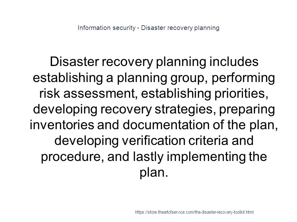 Information security - Disaster recovery planning