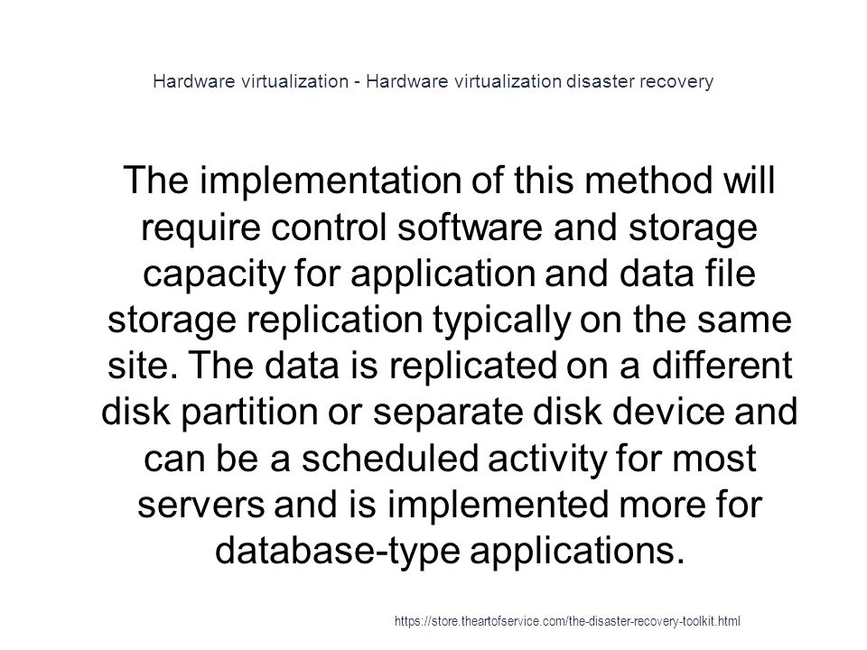 Hardware virtualization - Hardware virtualization disaster recovery