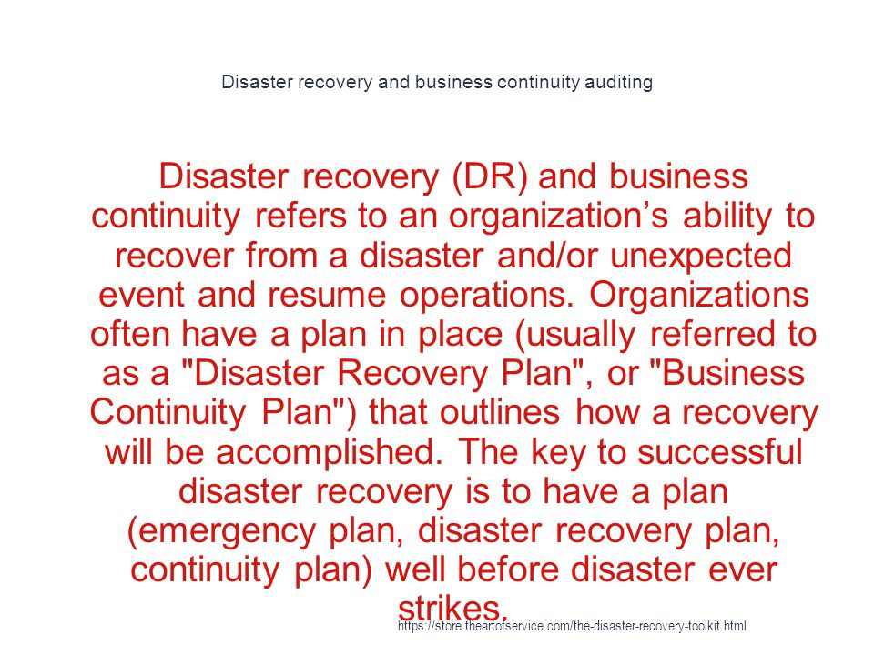 disaster recovery https store theartofservice the