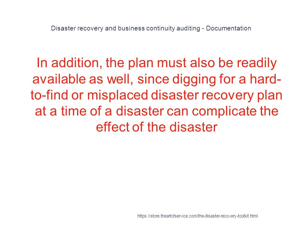 Disaster recovery and business continuity auditing - Documentation