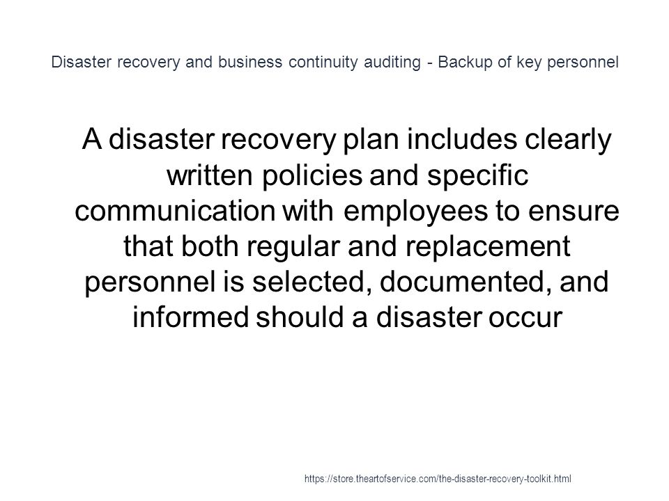 Disaster recovery and business continuity auditing - Backup of key personnel