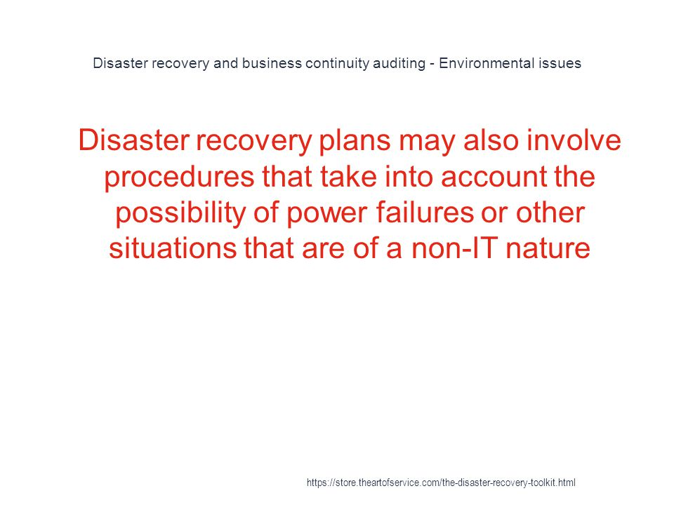 Disaster recovery and business continuity auditing - Environmental issues