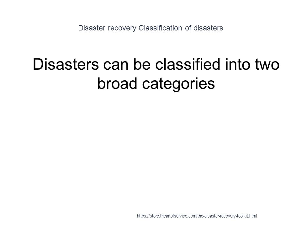 Disaster recovery Classification of disasters