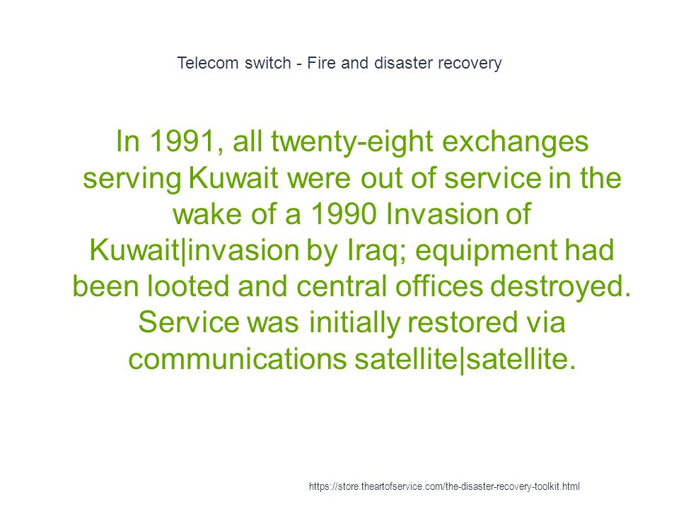 Telecom switch - Fire and disaster recovery