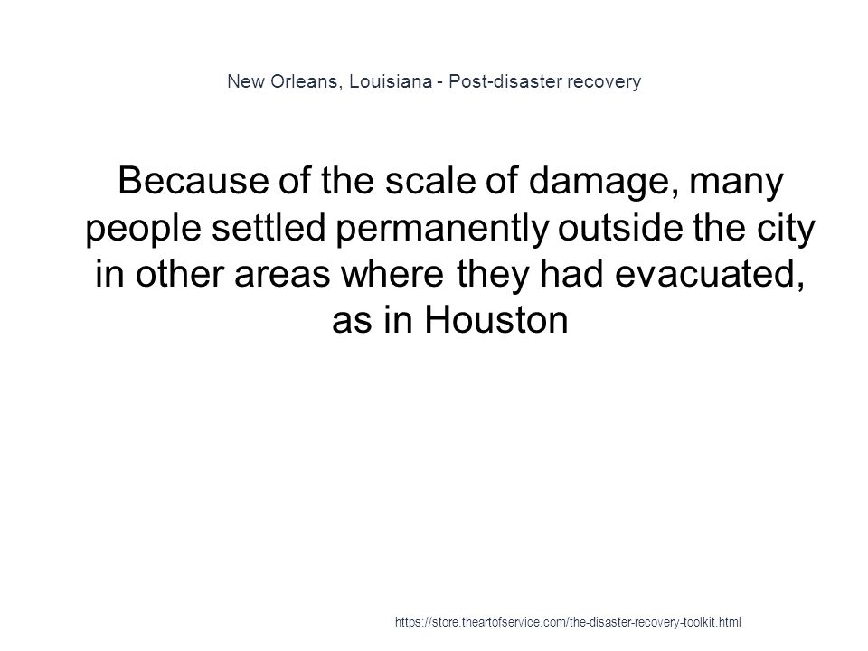 New Orleans, Louisiana - Post-disaster recovery