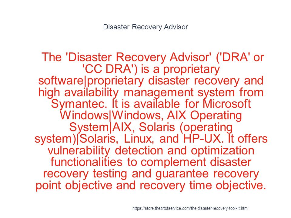 Disaster Recovery Advisor