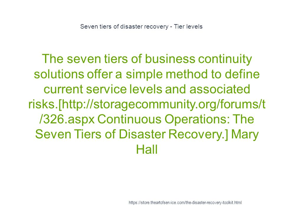 Seven tiers of disaster recovery - Tier levels