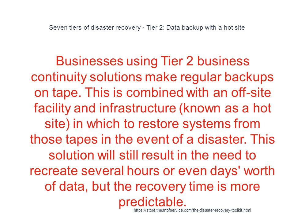 Seven tiers of disaster recovery - Tier 2: Data backup with a hot site