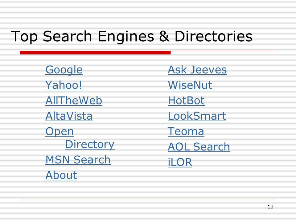 Top Search Engines & Directories