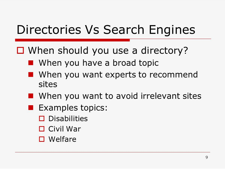Directories Vs Search Engines