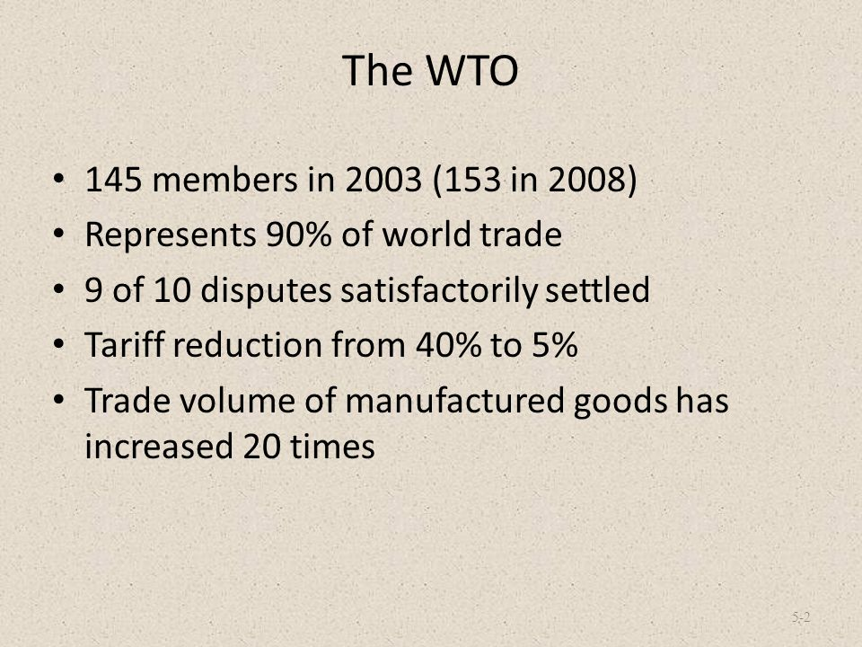 The WTO 145 members in 2003 (153 in 2008) Represents 90% of world trade. 9 of 10 disputes satisfactorily settled.