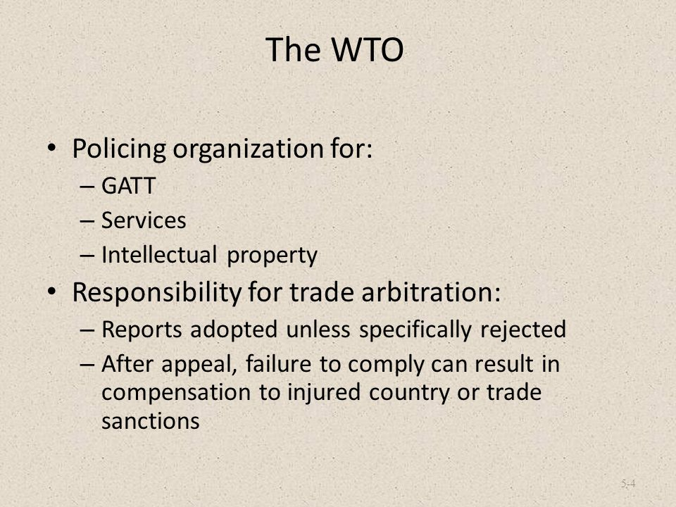 The WTO Policing organization for: