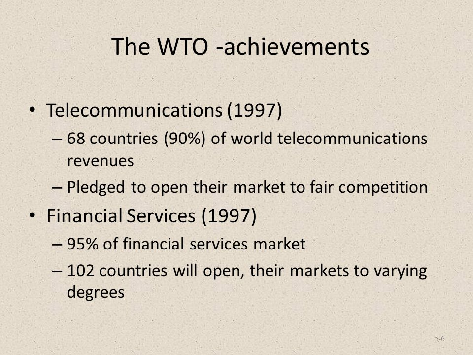 The WTO -achievements Telecommunications (1997)