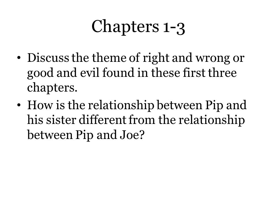 Chapters 1-3 Discuss the theme of right and wrong or good and evil found in these first three chapters.