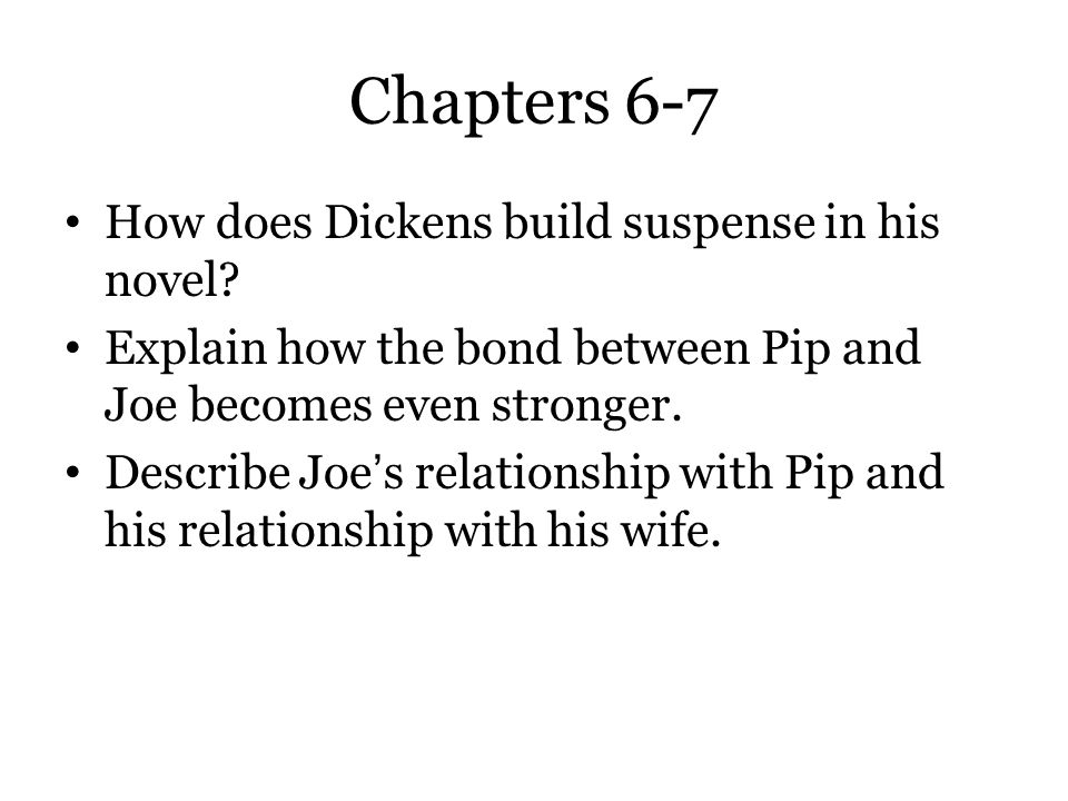 Chapters 6-7 How does Dickens build suspense in his novel