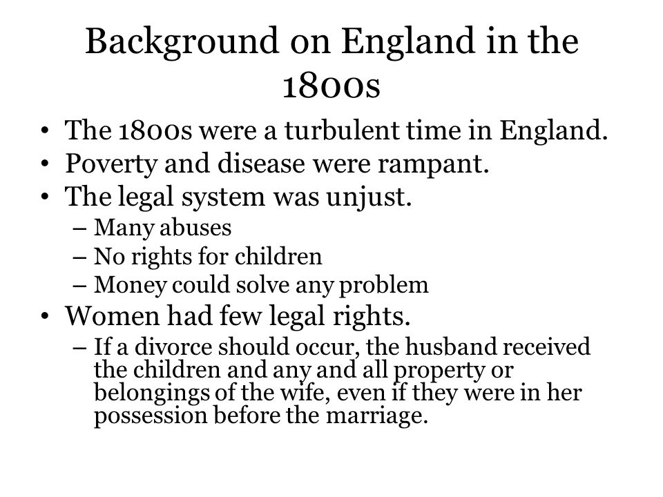 Background on England in the 1800s