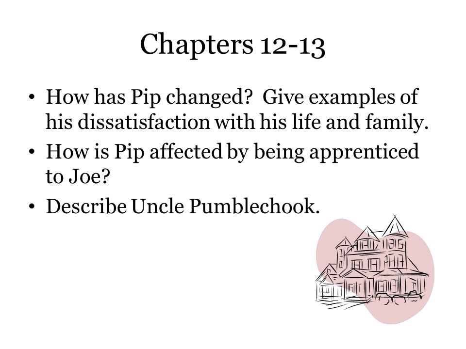 Chapters 12-13 How has Pip changed Give examples of his dissatisfaction with his life and family.
