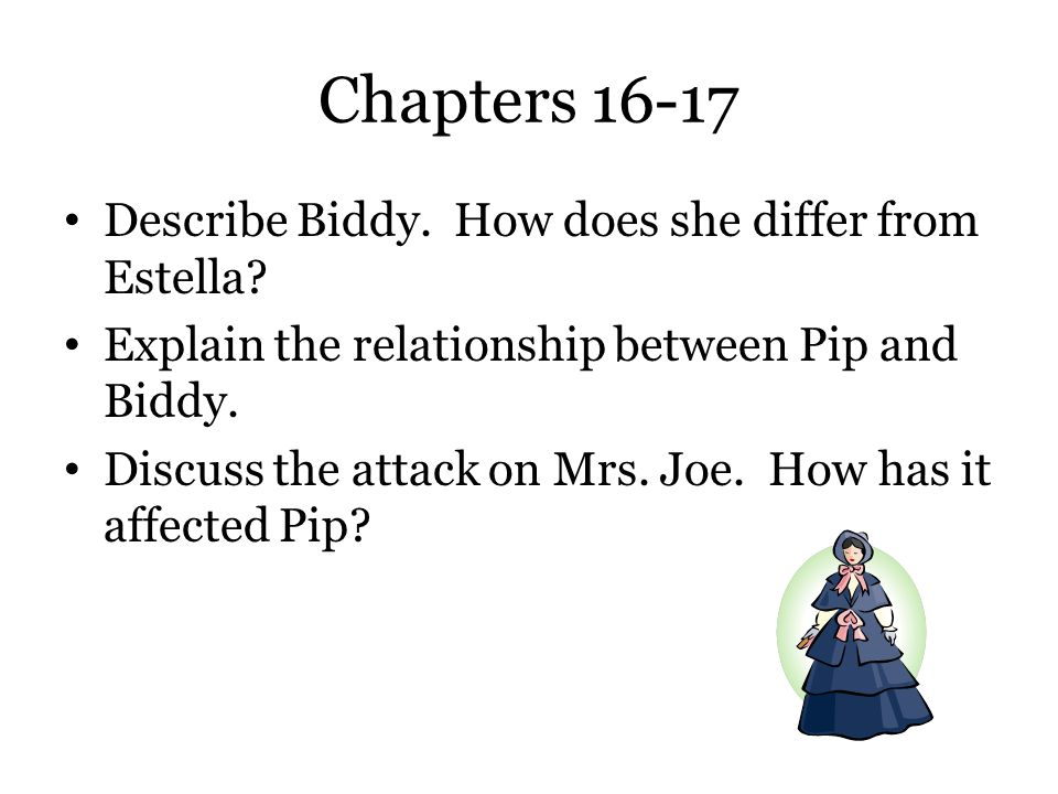 Chapters 16-17 Describe Biddy. How does she differ from Estella
