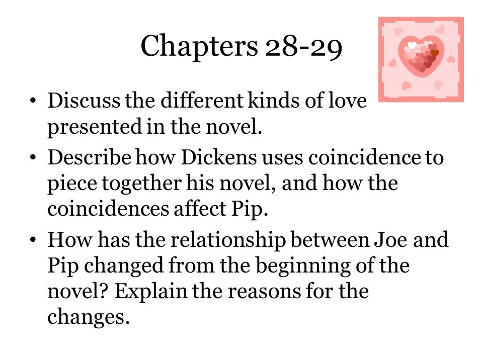 Chapters 28-29 Discuss the different kinds of love presented in the novel.