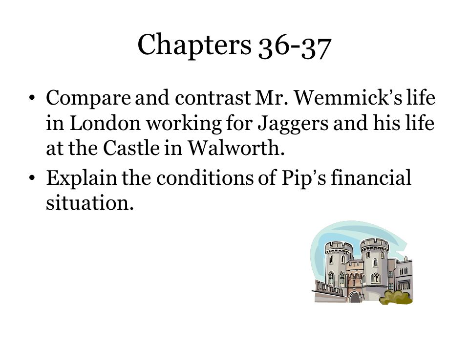 Chapters 36-37 Compare and contrast Mr. Wemmick's life in London working for Jaggers and his life at the Castle in Walworth.