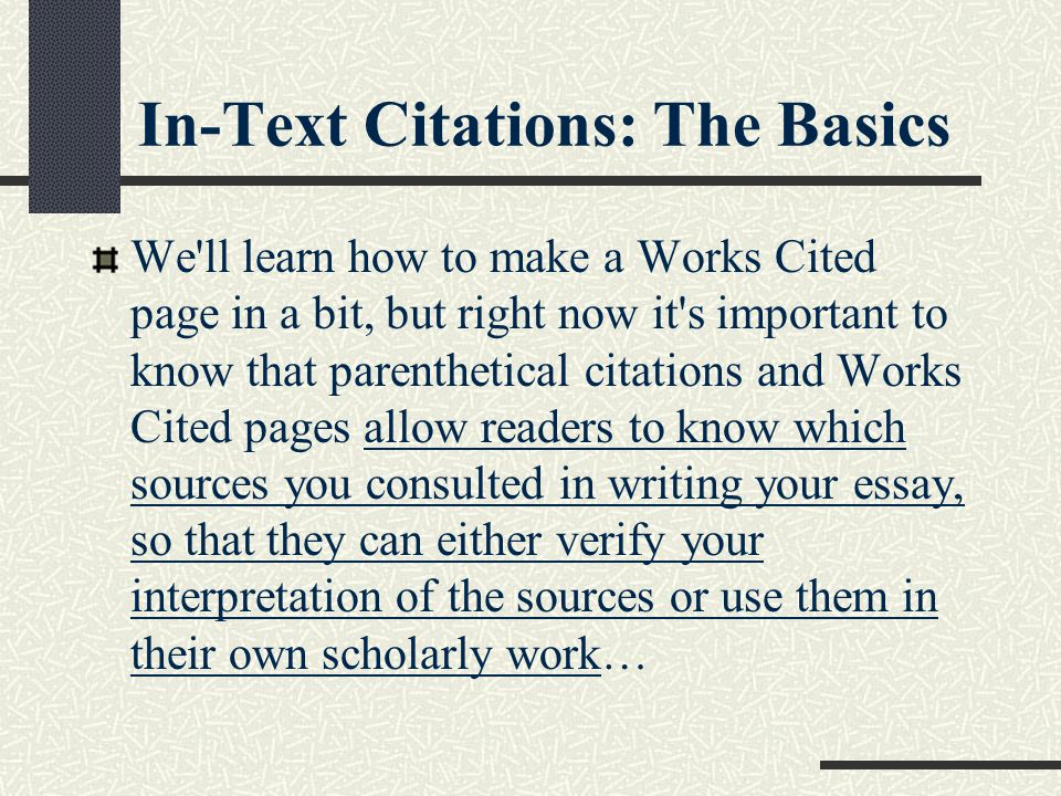 In-Text Citations: The Basics