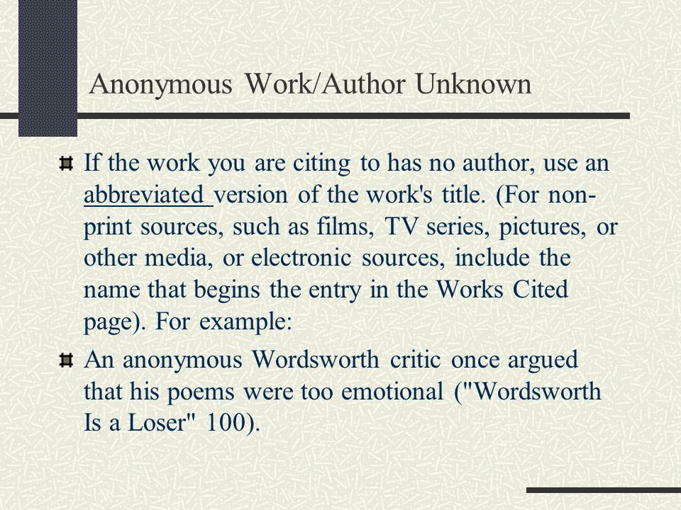 Anonymous Work/Author Unknown