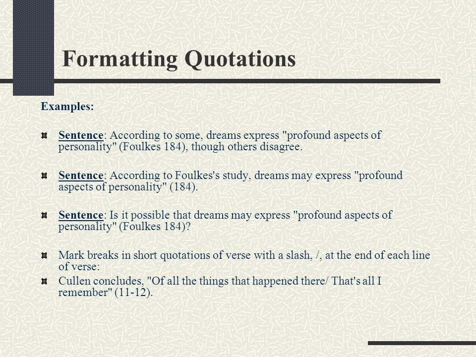 Formatting Quotations