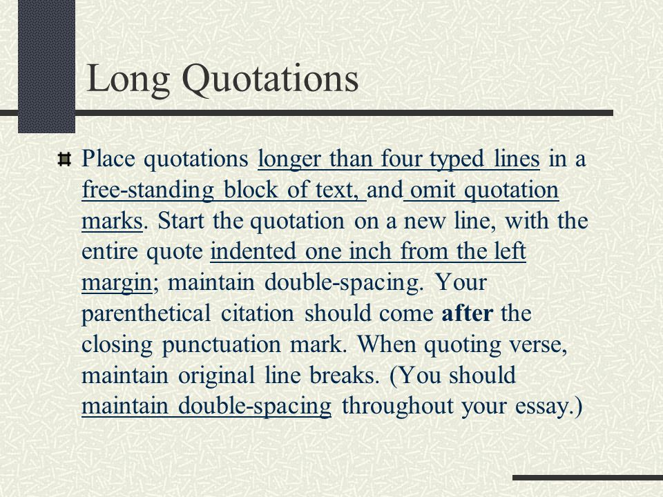 Long Quotations