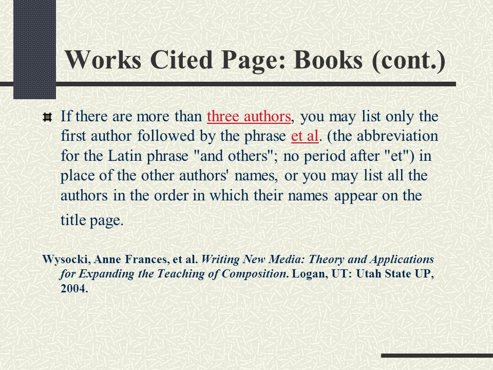 Works Cited Page: Books (cont.)