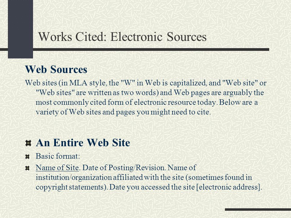 Works Cited: Electronic Sources