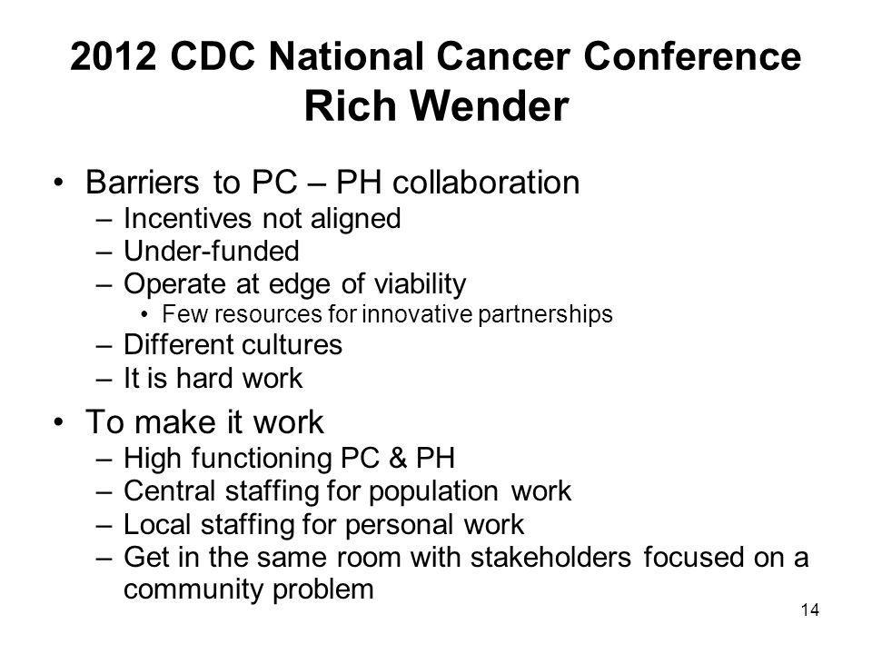 2012 CDC National Cancer Conference Rich Wender