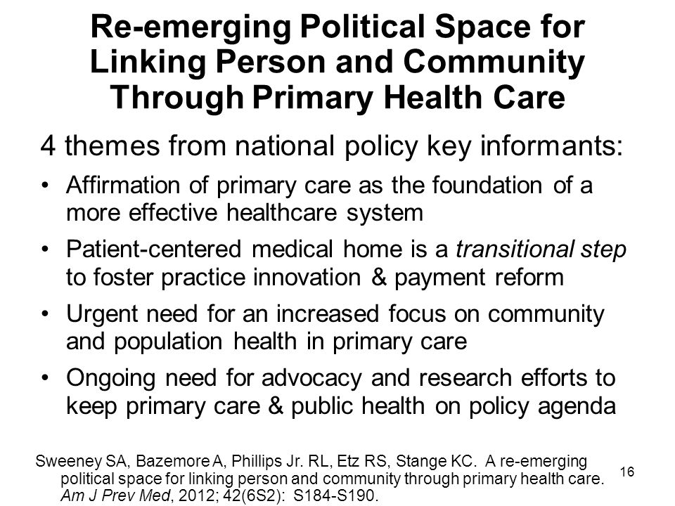 Re-emerging Political Space for Linking Person and Community Through Primary Health Care