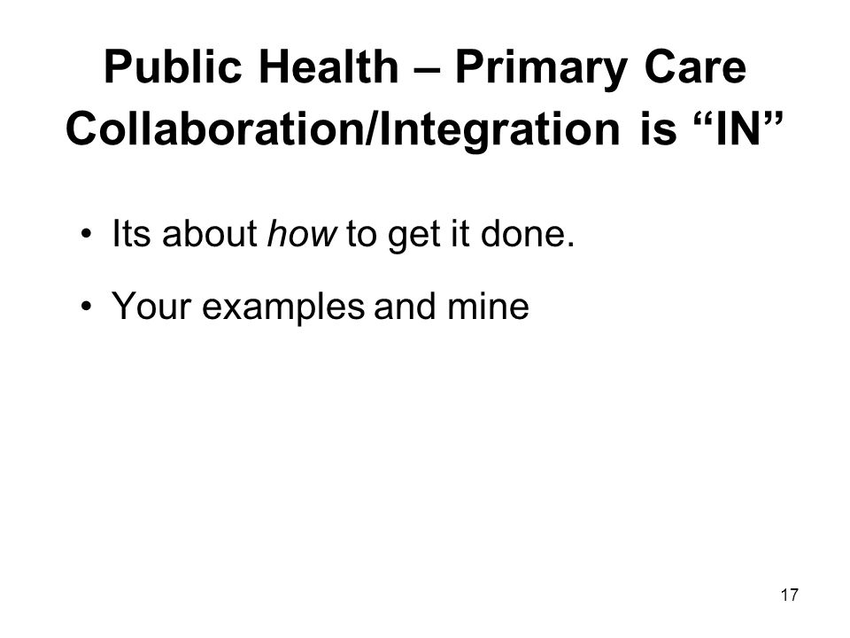 Public Health – Primary Care Collaboration/Integration is IN