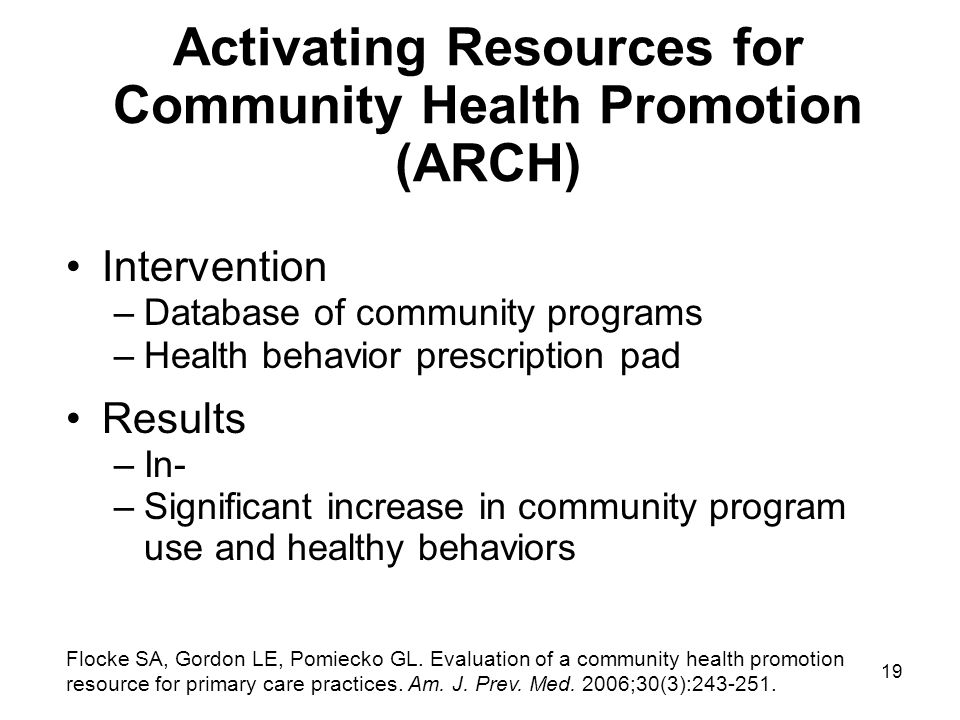 Activating Resources for Community Health Promotion (ARCH)