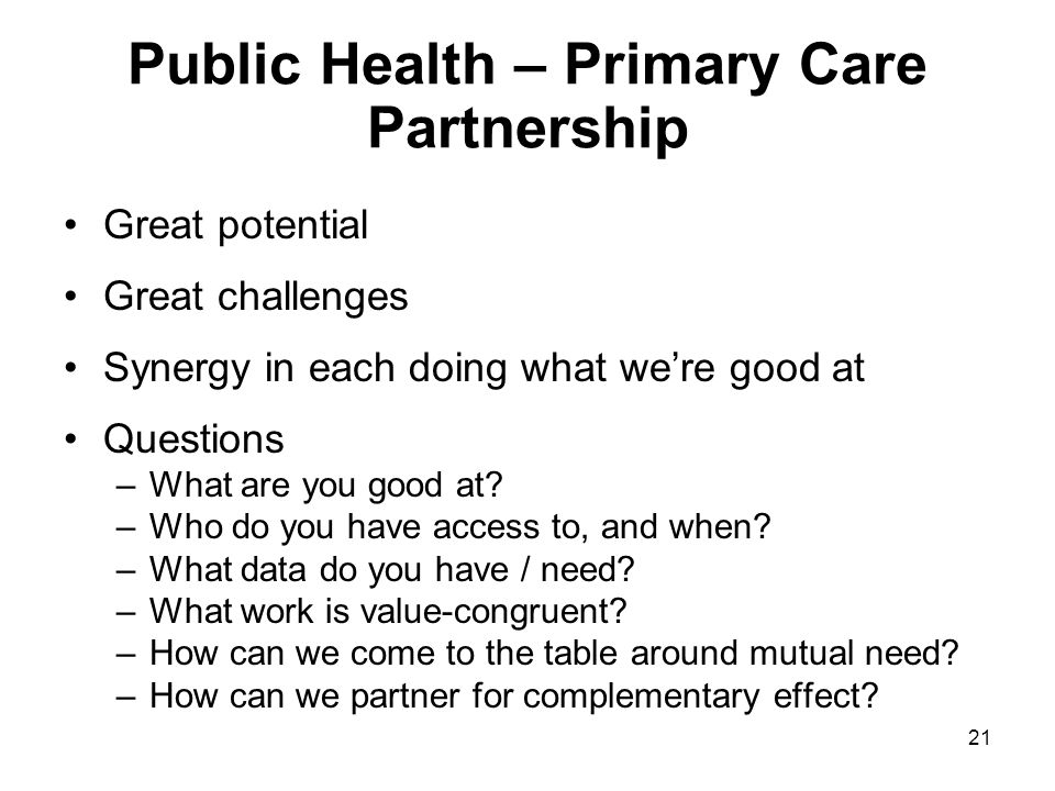 Public Health – Primary Care Partnership