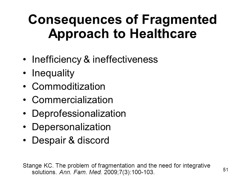 Consequences of Fragmented Approach to Healthcare