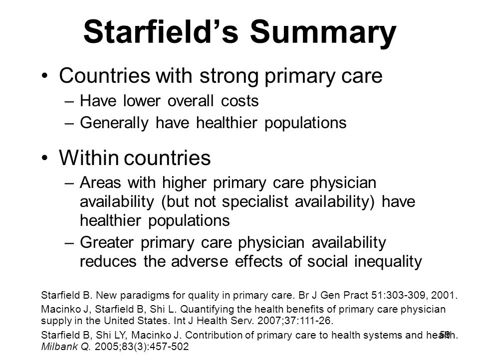 Starfield's Summary Countries with strong primary care