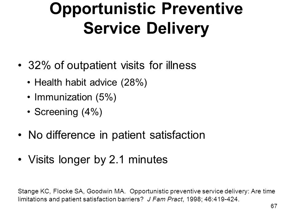 Opportunistic Preventive Service Delivery