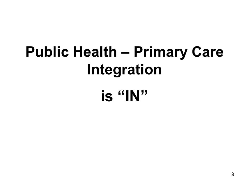 Public Health – Primary Care Integration