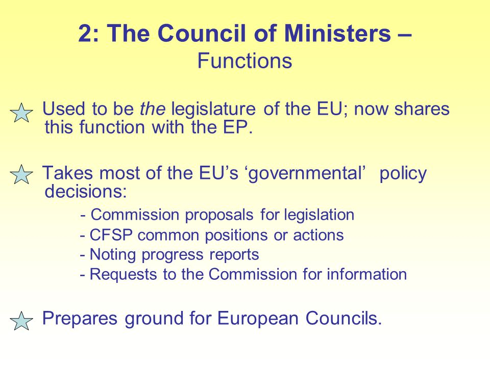 2: The Council of Ministers – Functions