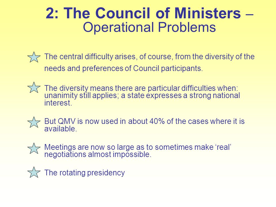 2: The Council of Ministers – Operational Problems