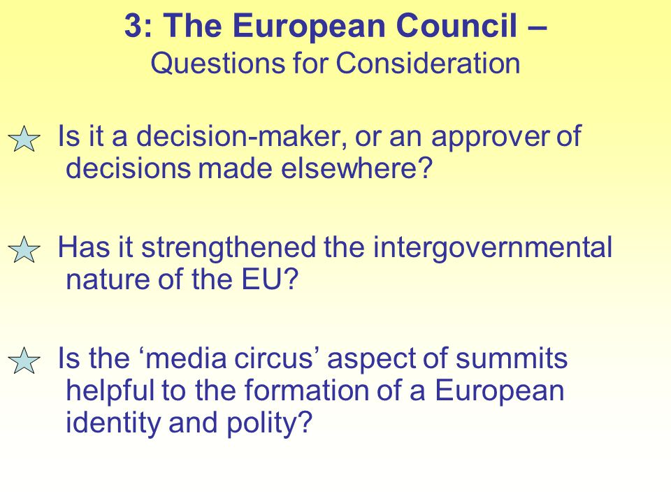3: The European Council – Questions for Consideration