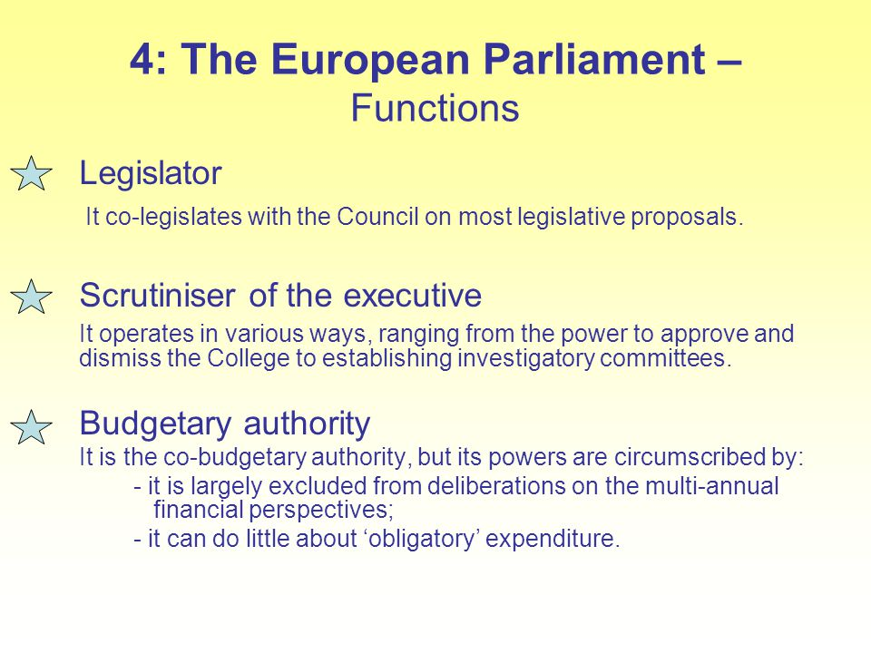 4: The European Parliament – Functions