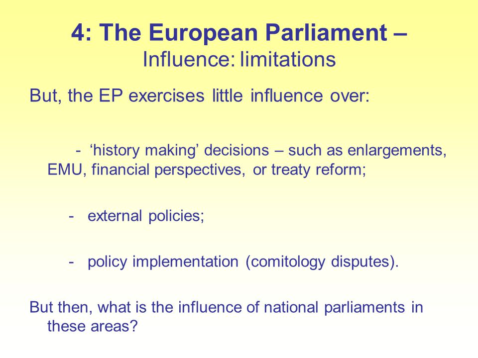 4: The European Parliament – Influence: limitations