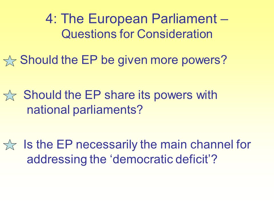 4: The European Parliament – Questions for Consideration