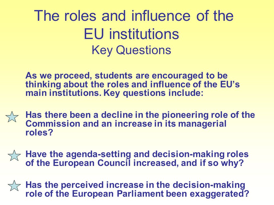 The roles and influence of the EU institutions Key Questions