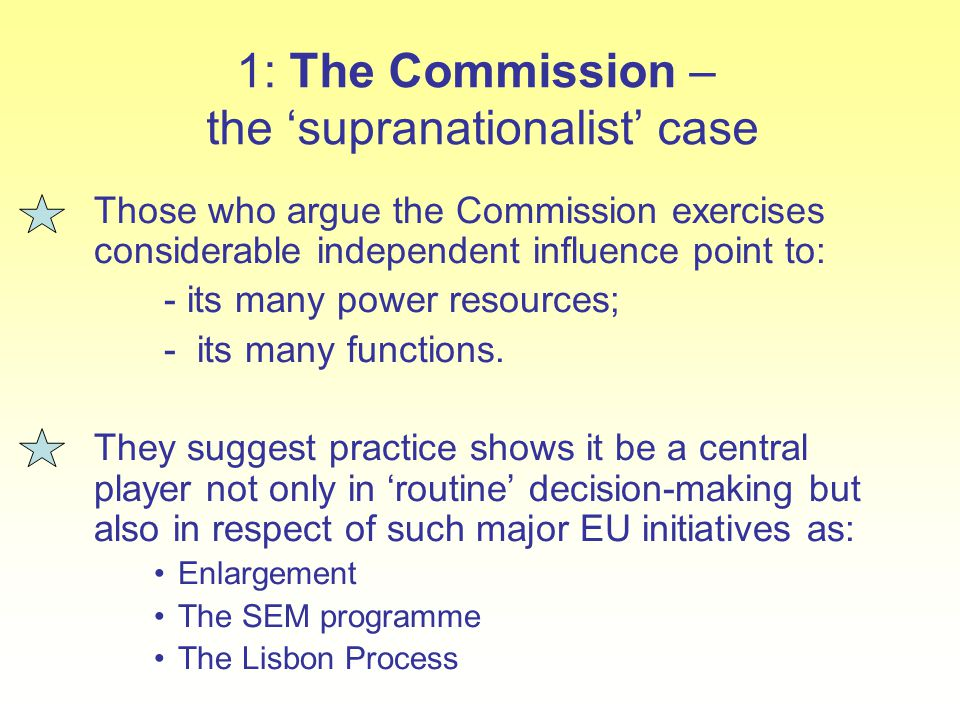 1: The Commission – the 'supranationalist' case