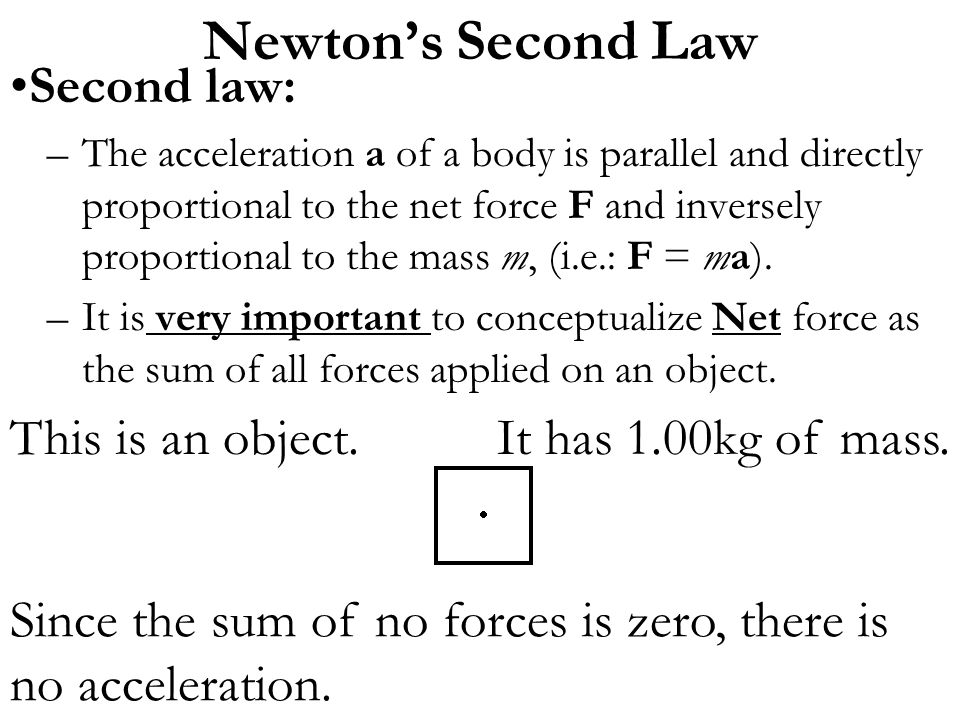 Newton's Second Law Second law: This is an object.