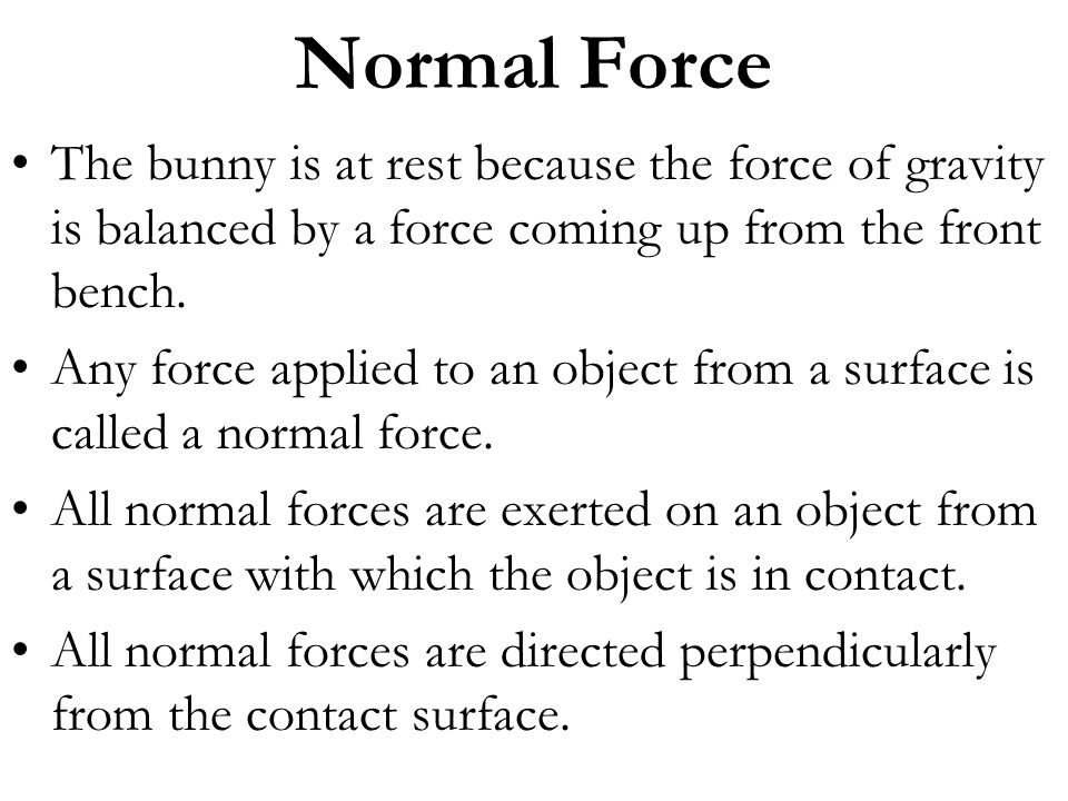 Normal Force The bunny is at rest because the force of gravity is balanced by a force coming up from the front bench.
