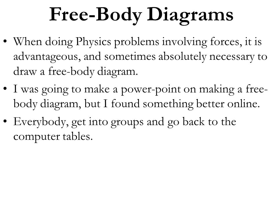 Free-Body Diagrams When doing Physics problems involving forces, it is advantageous, and sometimes absolutely necessary to draw a free-body diagram.